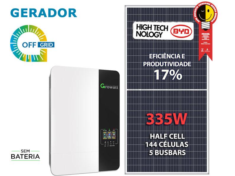 GERADOR DE ENERGIA SOLAR OFF GRID 2,01KWP INVERSOR 3.5KVA MPPT MONO 220V