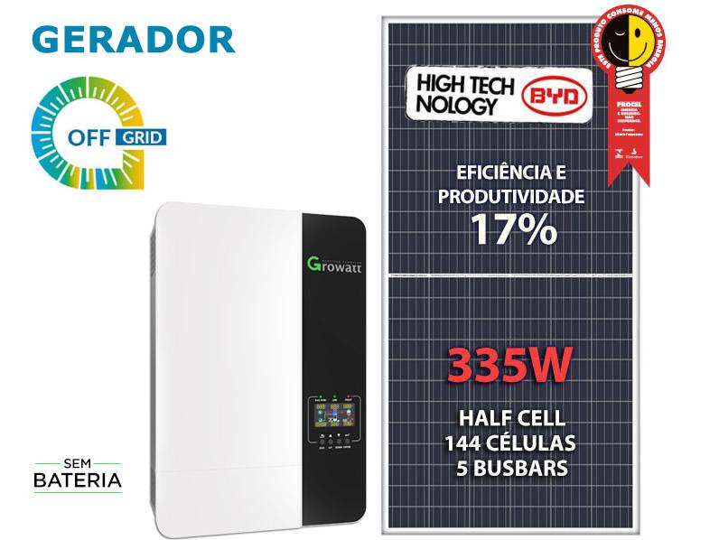 GERADOR DE ENERGIA SOLAR OFF GRID 2,68KWP INVERSOR 3.5KVA MPPT MONO 120V