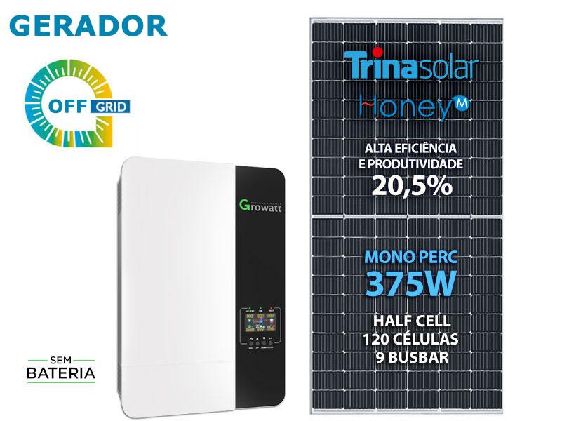GERADOR DE ENERGIA SOLAR OFF GRID 6KWP INVERSOR 5KVA MPPT MONO 220V