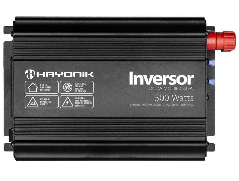 Inversor de Onda Modificada 500W 12VDC/127V USB Cinza Escuro