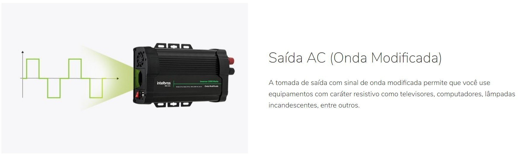 Inversor solar Off Grid 1000W Onda Modificada Intelbras IMD 1001 - 12V/127V