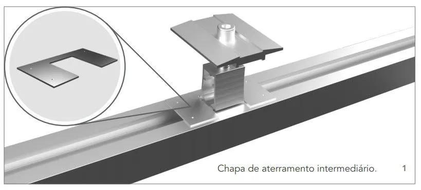 KIT ATERRAMENTO PARA ESTRUTURA PAINEL SOLAR ROMAGNOLE / UNIVERSAL P/ 4 PLACAS