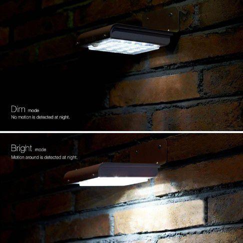Luminária De Parede Solar 16 Leds 1w C/ Sensor De Movimento