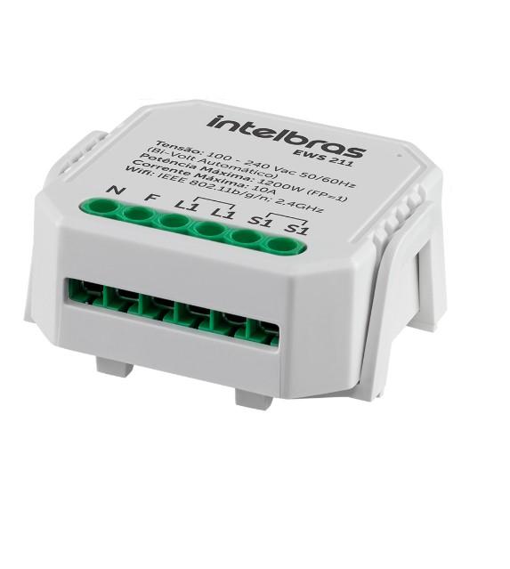 Mini controlador smart Wi-Fi Intelbras EWS 211 para 1 interruptor