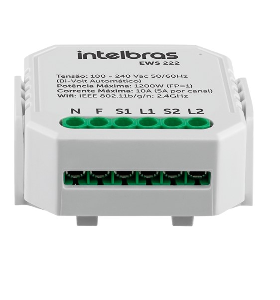 Mini controlador smart Wi-Fi Intelbras EWS 222 para 2 interruptor
