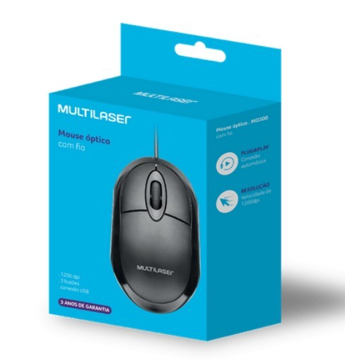 Mouse Classic Box Óptico Full Black USB Multilaser- MO300