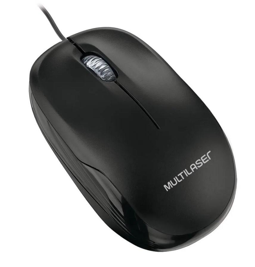 Mouse Optico Com Fio Preto USB Multilaser - MO255