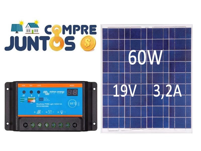 Painel Placa Solar Fotovoltaica 60w + Controlador Carga