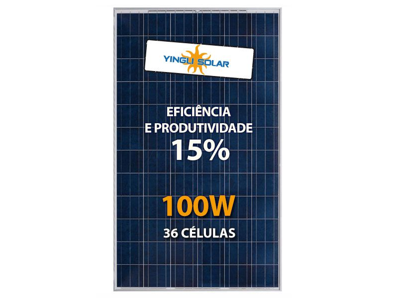 PAINEL SOLAR 100W YINGLI YL100P-17B 2/3 POLI Cx C/ 6un