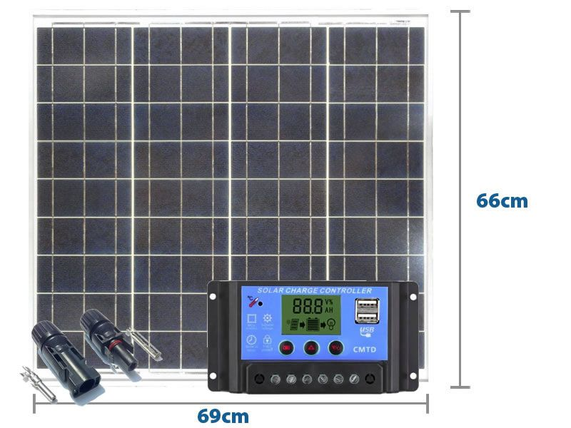 Painel Solar 55W Yingli + Controlador PWM 10A + MC4