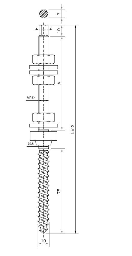 Parafuso Rosca Dupla M10 X 200mm + Porcas + Borracha Vedação