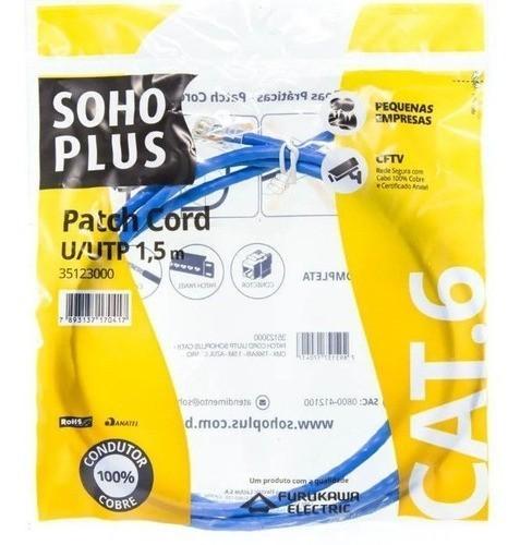 PATCH CORD U/UTP SOHOPLUS / FURUKAWA CAT.6 - T568A - 1.5 M - AZUL