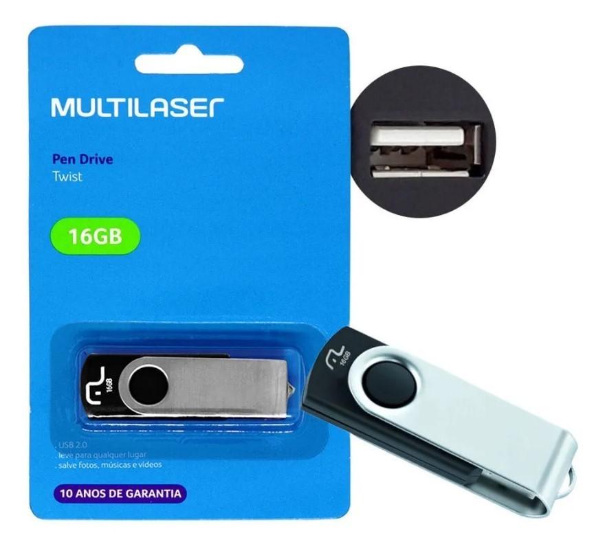 Pen Drive 16GB Twist USB Leitura 10MB/s e Gravação 3MB/s Preto Multilaser
