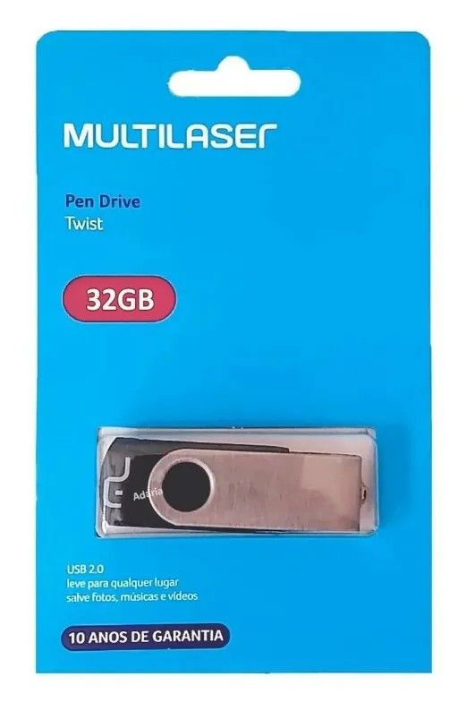 Pen Drive 32GB Twist USB Leitura 10MB/s e Gravação 3MB/s Preto Multilaser