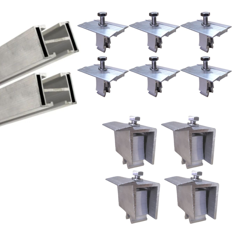 Perfil Barra Trilho Estrutura p/ Painel Solar 4,40Mt + Middle e End Clamp
