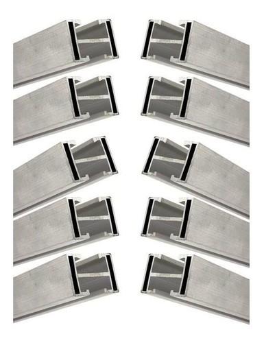 Perfil Barra Trilho Suporte Estrutura p/ Painel Solar 4,20Mt Alumínio c/ 10un