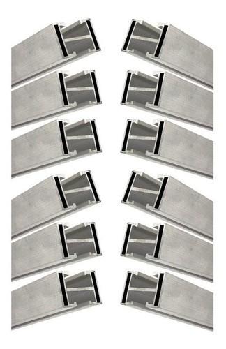 Perfil Barra Trilho Suporte Estrutura p/ Painel Solar 4,20Mt Alumínio c/ 12un