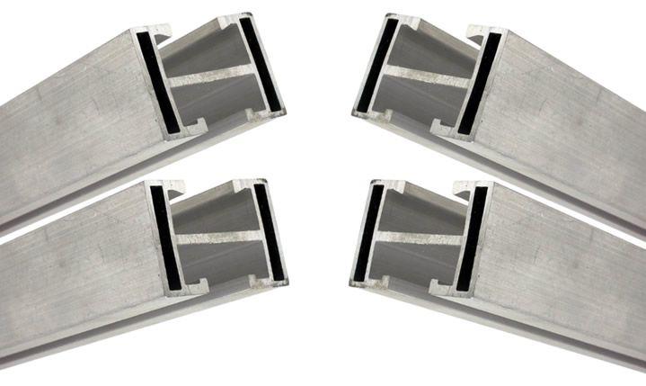 Perfil Barra Trilho Suporte Estrutura p/ Painel Solar 4,20Mt Alumínio c/ 4un