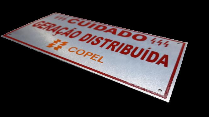 Placa Cuidado - Geração Distribuída - Padrão Copel C/ 10un - Relevo