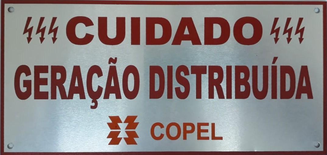 Placa Cuidado - Geração Distribuída - Padrão Copel C/ 30un - Relevo