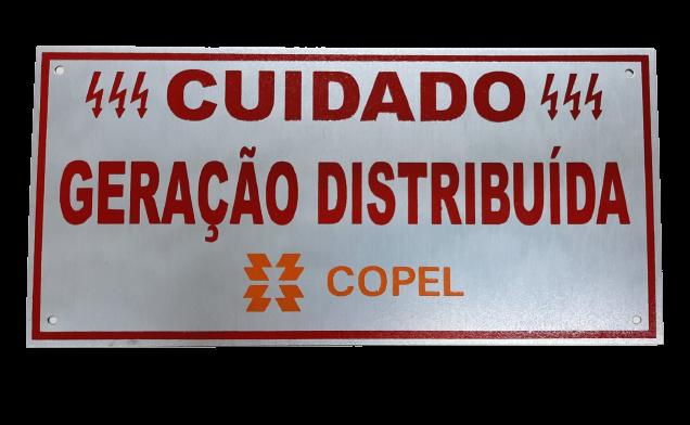 Placa Cuidado - Geração Distribuída - Padrão Copel C/ 5un - Relevo