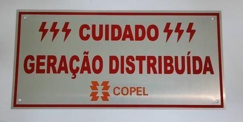 Placa Cuidado - Geração Distribuída - Padrão Copel - Lisa C/ 15un