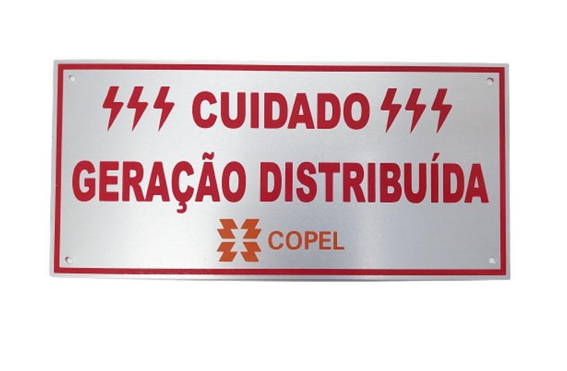 Placa Cuidado - Geração Distribuída - Padrão Copel - Lisa C/ 30un
