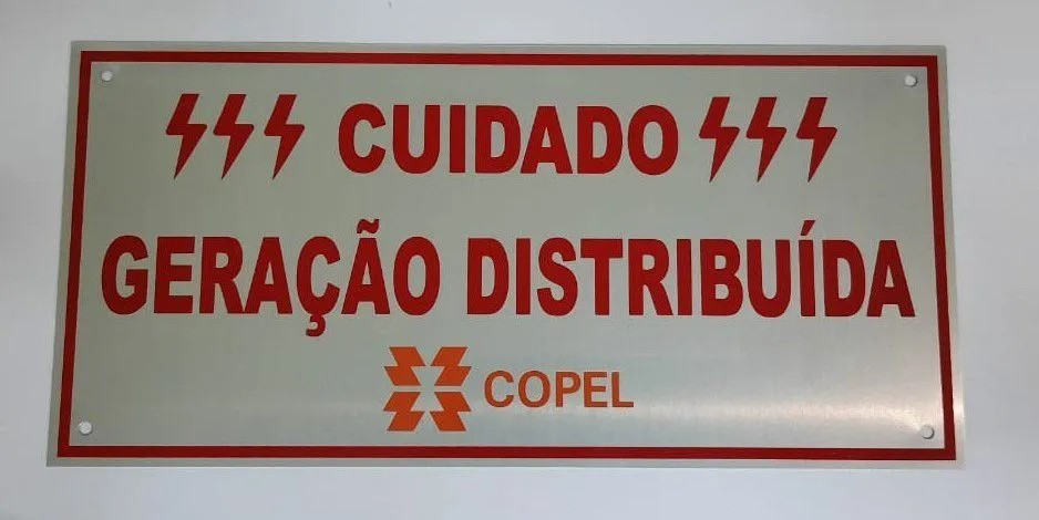 Placa Cuidado - Geração Distribuída - Padrão Copel - Lisa C/ 5un