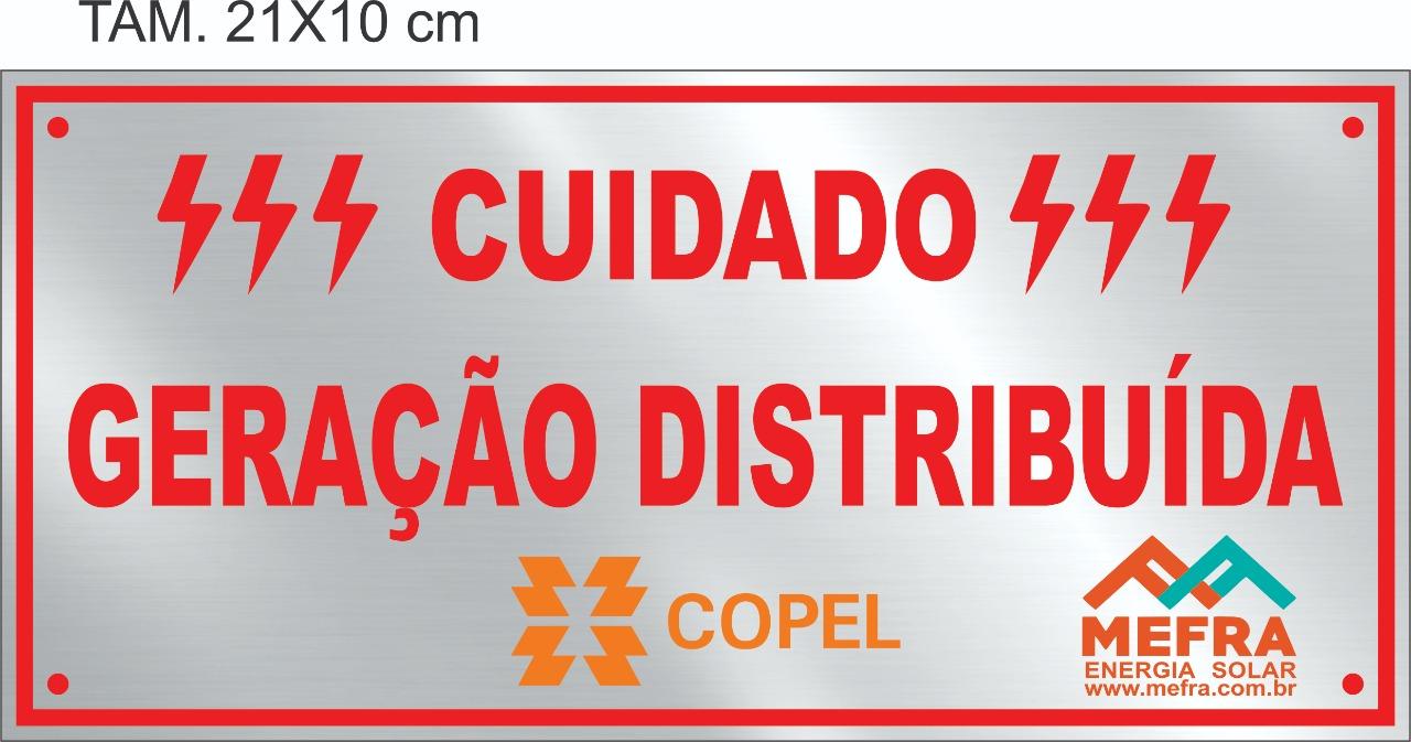 Placa Cuidado - Geração Distribuída - Padrão Copel - Personalizada c/ Logo 50un