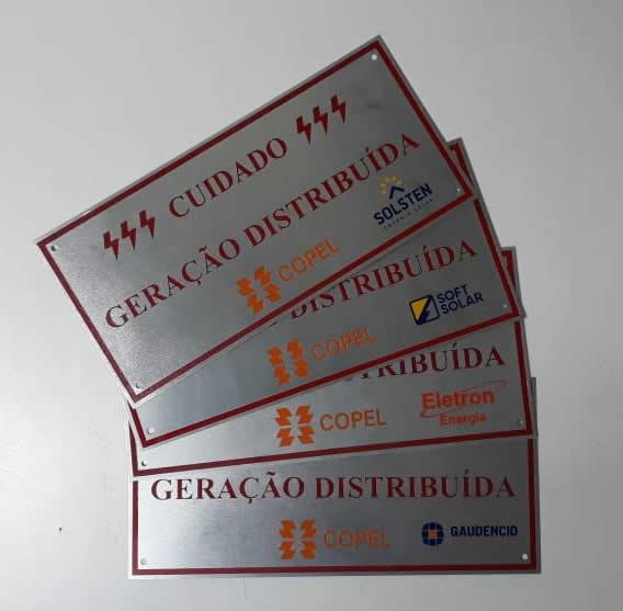 Placa Cuidado - Geração Distribuída - Padrão Copel - Personalizada c/ Logo 50un - Relevo