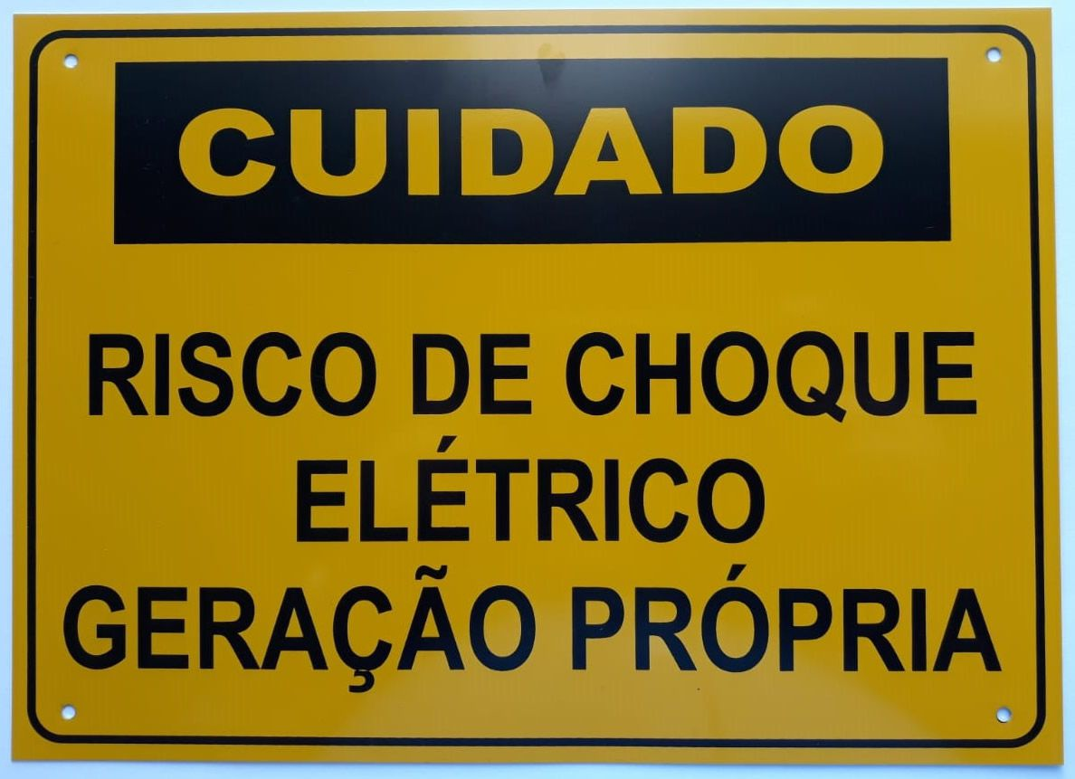 Placa Cuidado - Geração Própria - Padrão Energisa, Cemig, Enel Goias, Eletrobras - Tam 18x25 c/ 5un
