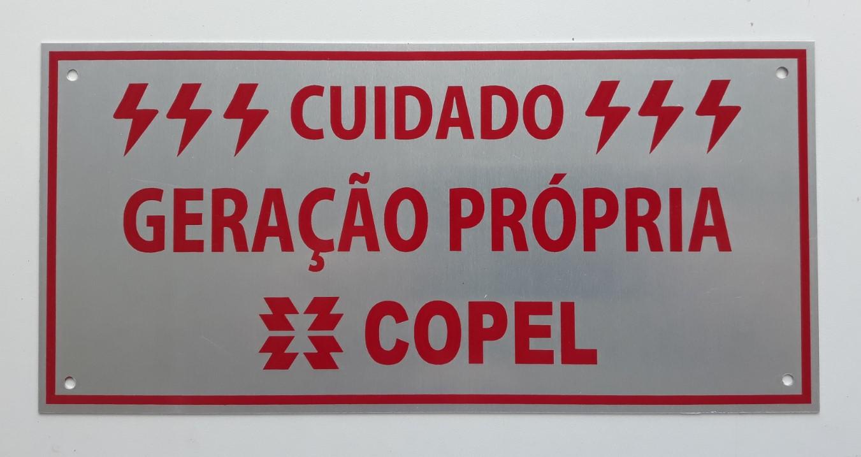 Placa Cuidado  Geração Própria Copel - Tam 10x21 Alumínio c/ 10un