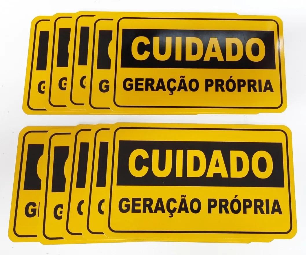 Placa Cuidado  Geração Própria Elektro - Tam 25x15 Alumínio c/ 10un
