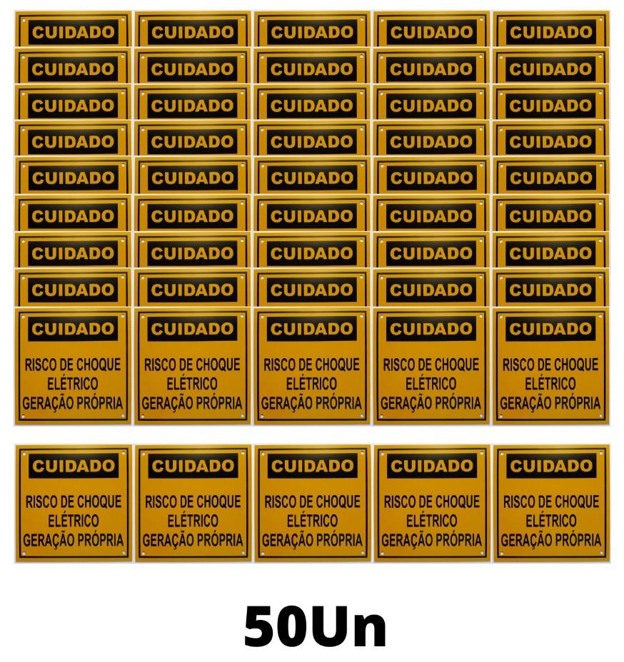 Placa Cuidado - Geração Própria  - Padrão CPFL Tam 13x13 c/ 50un