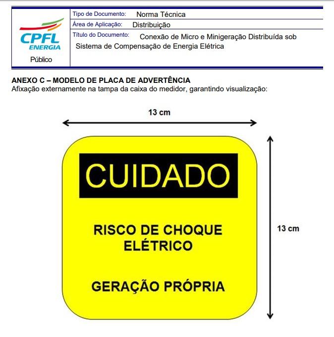 Placa Cuidado - Geração Própria  - Padrão CPFL Tam 13x13 CA 10un
