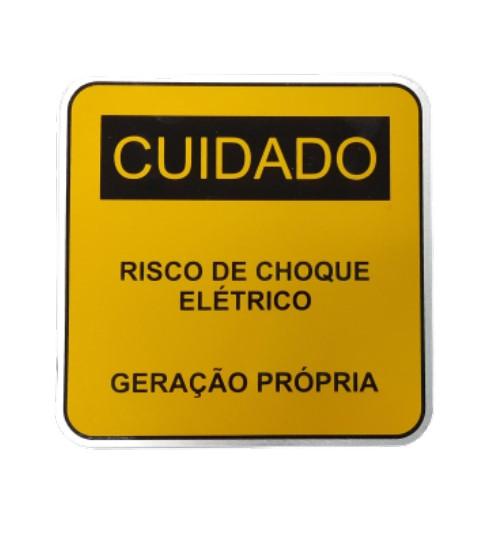 Placa Cuidado - Geração Própria  - Padrão CPFL Tam 13x13 CA 50un
