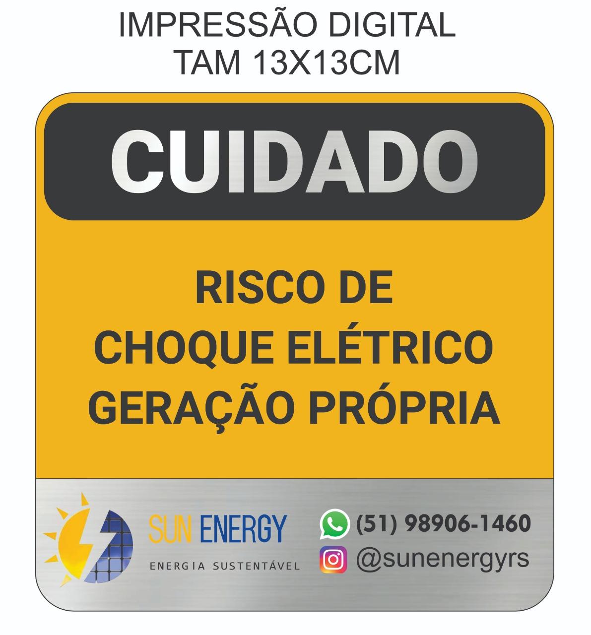 Placa Cuidado - Geração Própria  - Padrão CPFL Tamanho 13x13  Personalizada c/ Logo - Impressão Digital - 50un