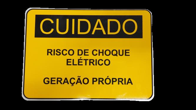 Placa Cuidado - Geração Própria - Padrão Energisa, Cemig, Enel Goias, Cemig, Celesc Eletrobras - Tam 25x18 CA
