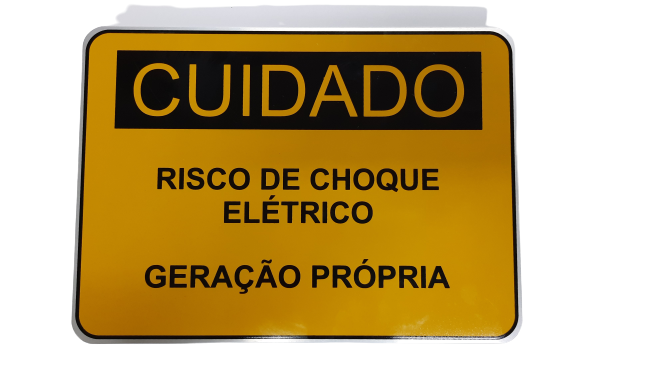 Placa Cuidado - Geração Própria - Padrão Energisa, Cemig, Enel Goias, Cemig, Celesc Eletrobras - Tam 25x18 CA - 10Un