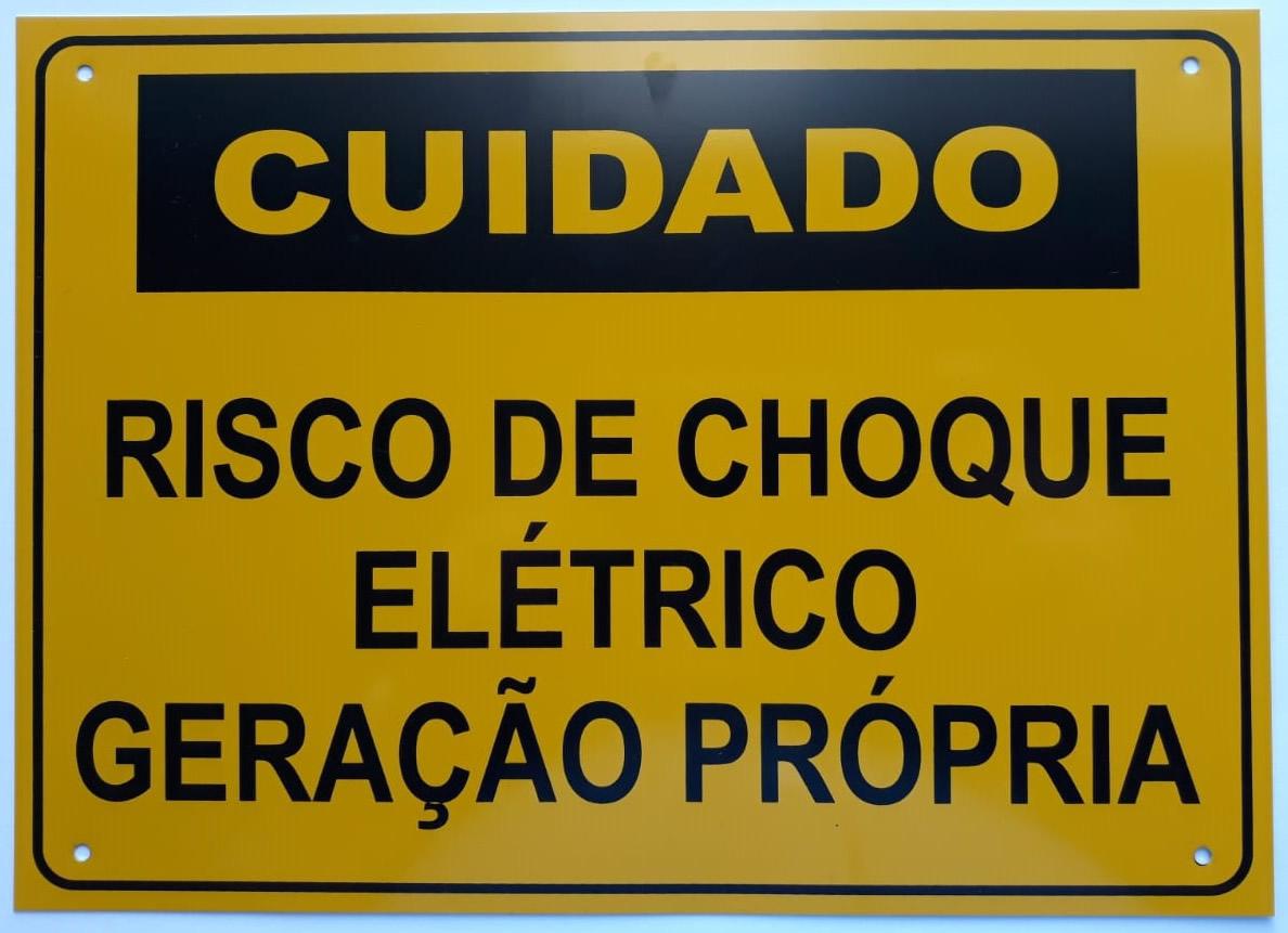 Placa Cuidado - Geração Própria - Padrão Energisa, Cemig, Enel Goias, Eletrobras - Tam 25x18 c/ 15un