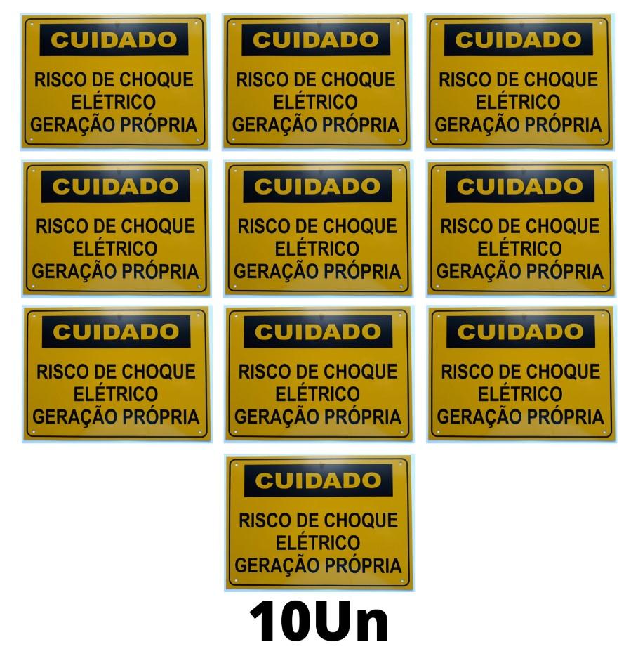 Placa Cuidado - Geração Própria - Padrão Energisa, Cemig, Enel Goias, Eletrobras - Tam 25x18 c/ 10un