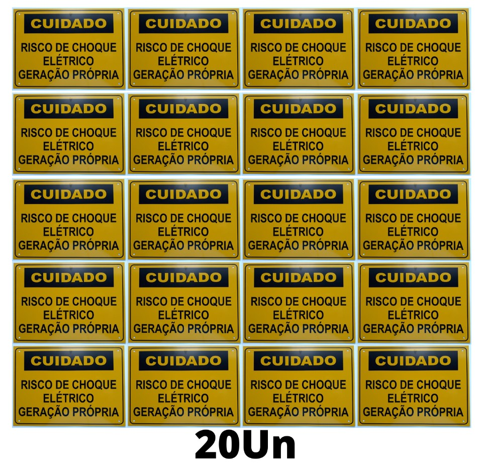 Placa Cuidado - Geração Própria - Padrão Energisa, Cemig, Enel Goias, Eletrobras - Tam 25x18 c/ 20un