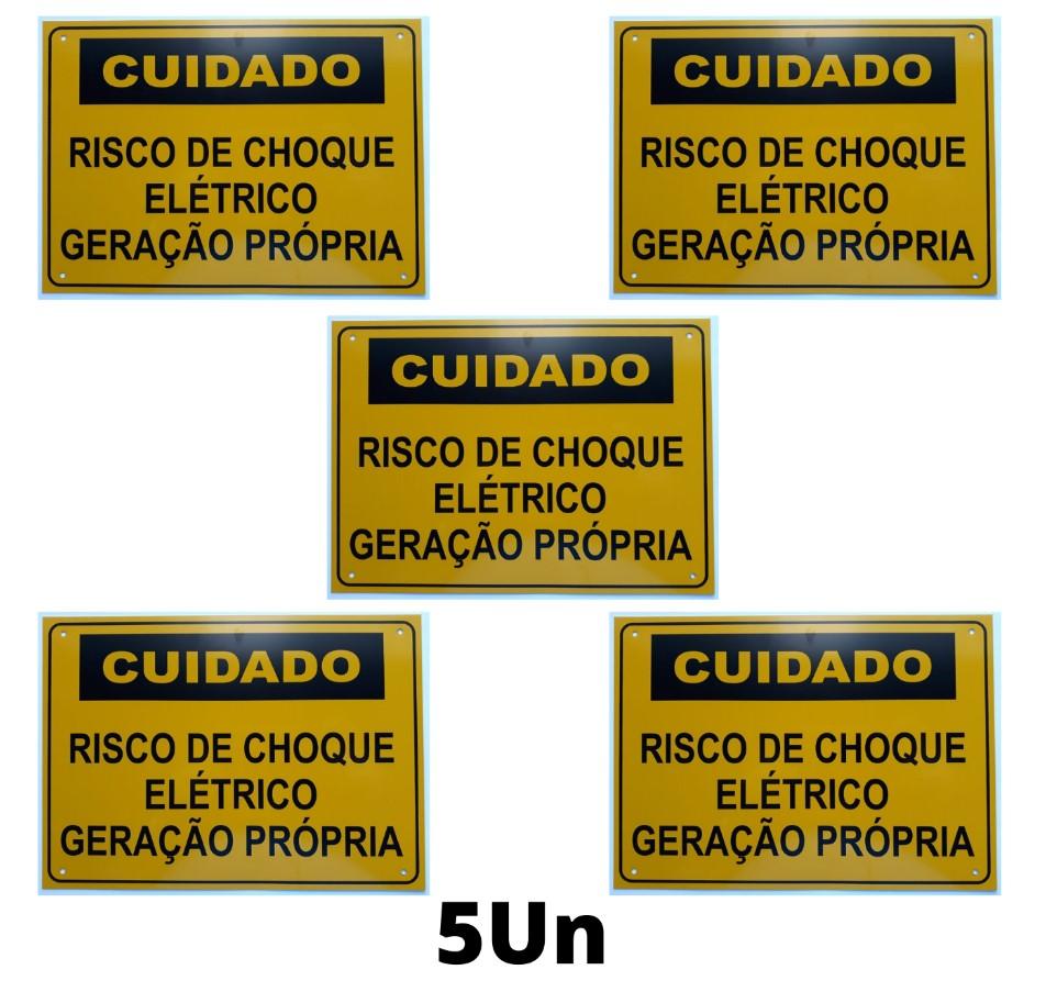 Placa Cuidado - Geração Própria - Padrão Energisa, Cemig, Enel Goias, Eletrobras - Tam 25x18 c/ 5un