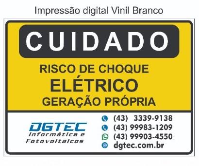Placa Cuidado - Geração Própria - Padrão Energisa, Cemig, Enel Goias, Eletrobras - Tam 25x18 Personalizada c/ Logo - Impressão Digital - 50un