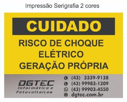 Placa Cuidado - Geração Própria - Padrão Energisa, Cemig, Enel Goias, Eletrobras - Tam 25x18 Personalizada c/ Logo - 50un