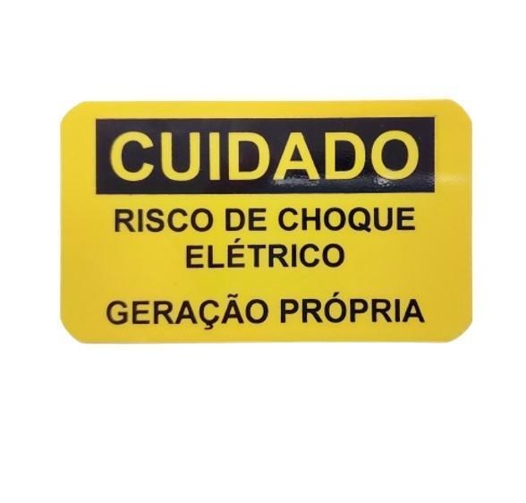 Placa Cuidado  Risco de Choque Elétrico Geração Própria Celesc - Tam 85x50 PVC/PS