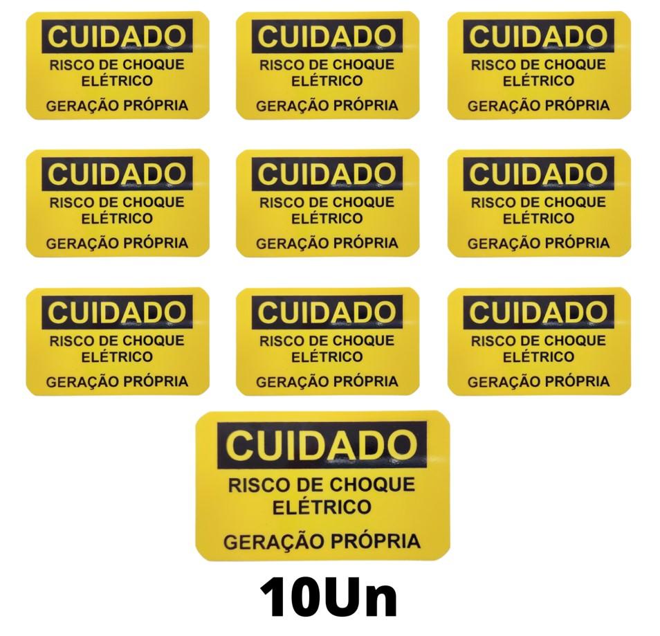 Placa Cuidado  Risco de Choque Elétrico Geração Própria Celesc - Tam 85x50 PVC/PS c/ 10un