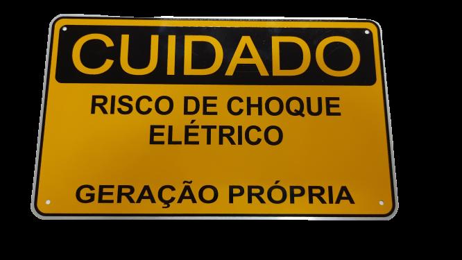Placa Cuidado Risco de Choque Elétrico Geração Própria EDP - Tam 25x15 Alumínio CA
