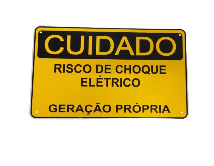 Placa Cuidado Risco de Choque Elétrico Geração Própria EDP - Tam 25x15 Alumínio CA - c/ 5un