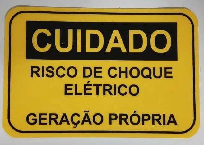 Placa Cuidado  Risco de Choque Elétrico Geração Própria Light - Tam 15x10 PVC